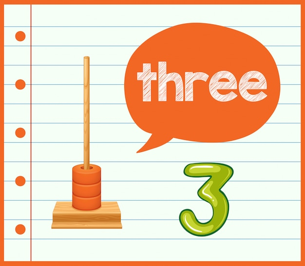 A math learning card number three Free Vector