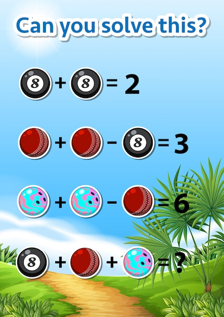 Math problem solving worksheet Free Vector