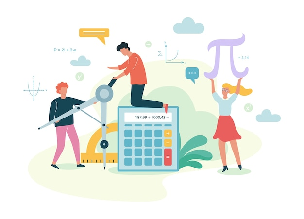 Math school subject. learning mathematics, idea of education Premium Vector