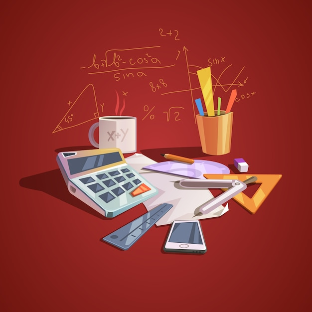 Math science concept with school lesson items in retro cartoon style Free Vector