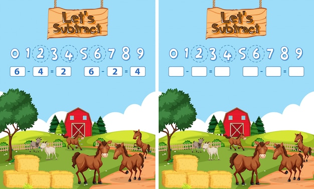 Math subtraction worksheet farm theme Free Vector