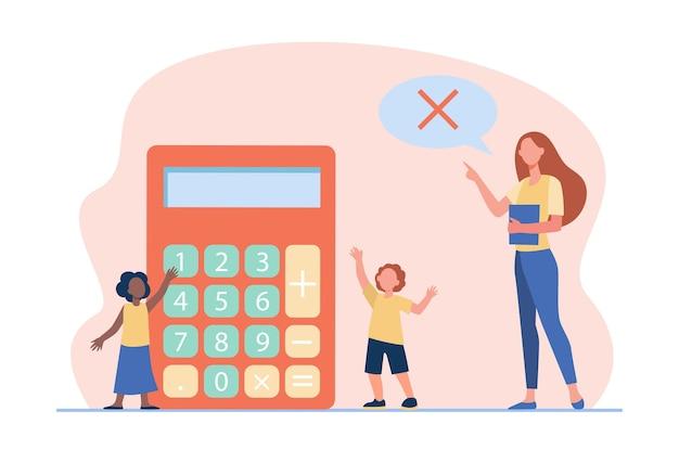 Math teacher forbidding to use calculator. teaching, prohibition sign in speech bubble, kids. cartoon illustration Free Vector
