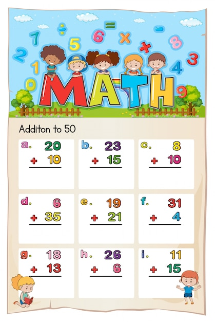 Math worksheet template for addition to fifty Free Vector