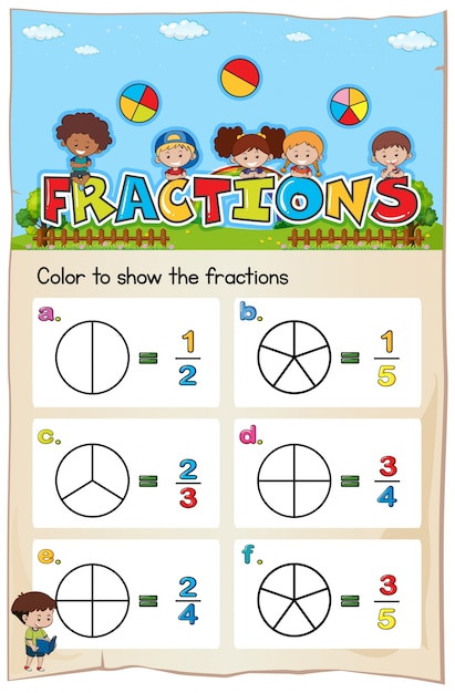 Math Worksheet Template For Color The Fraction Vector  Premium Download