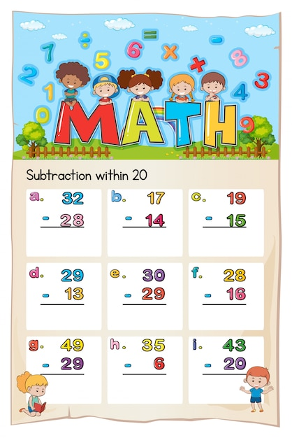 Math worksheet template for subtraction within twenty Free Vector