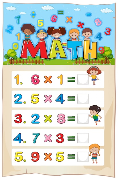 Math worksheet template with kids and multiplication ...