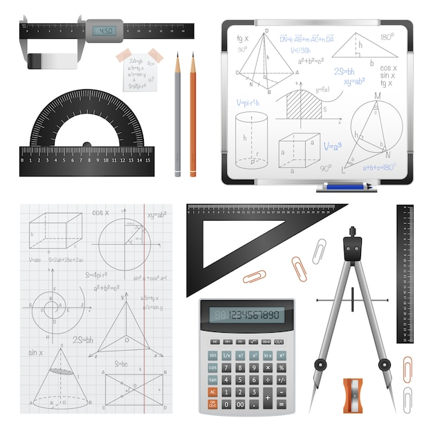 Mathematic science images set Free Vector