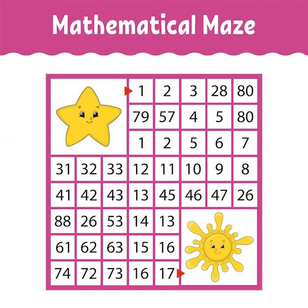 Mathematical colored square maze. Premium Vector