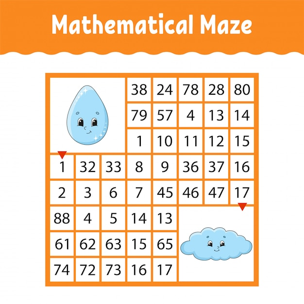 Mathematical colored square maze. Premium Vector