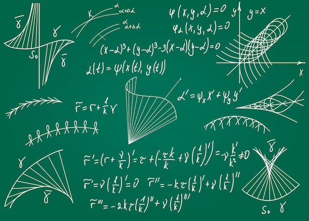 Mathematical formulas drawn by hand on a green chalkboard for the background. Premium Vector