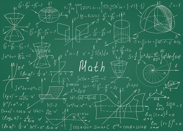 Mathematical formulas drawn by hand on a green chalkboard for the background Premium Vector