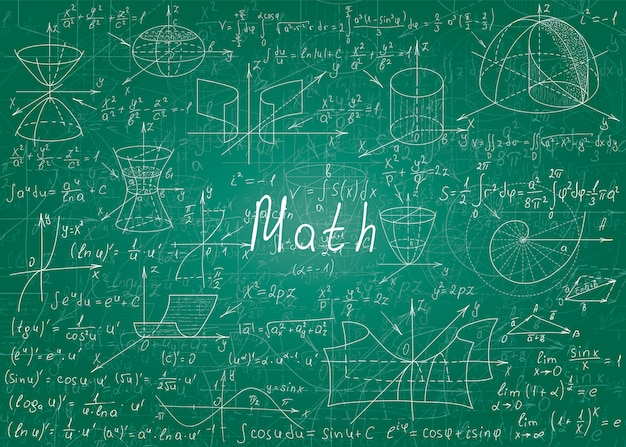 Mathematical formulas drawn by hand on a green unclean chalkboard for the background. Premium Vector