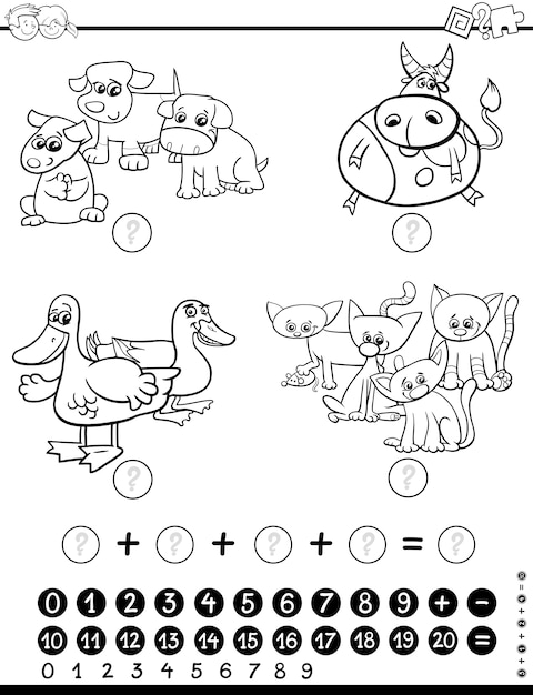 Mathematical game coloring page Premium Vector