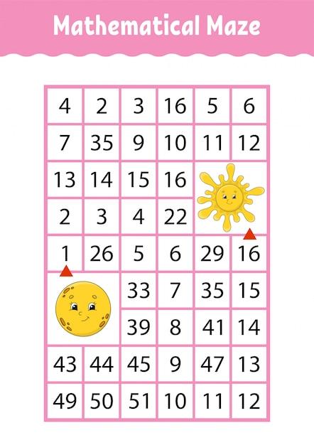 Математический лабиринт, игра для детей. Premium векторы