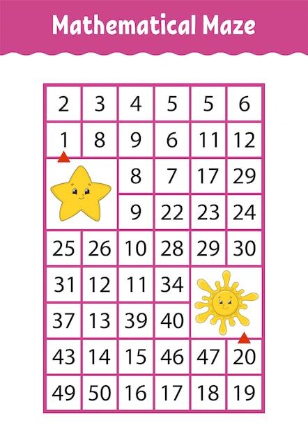 Математический лабиринт, игра для детей, Premium векторы