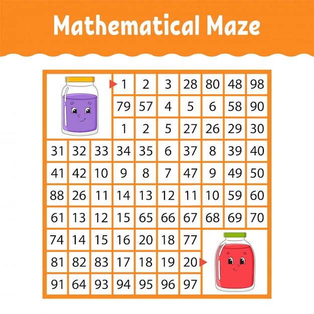 Mathematical maze, game for kids Premium Vector