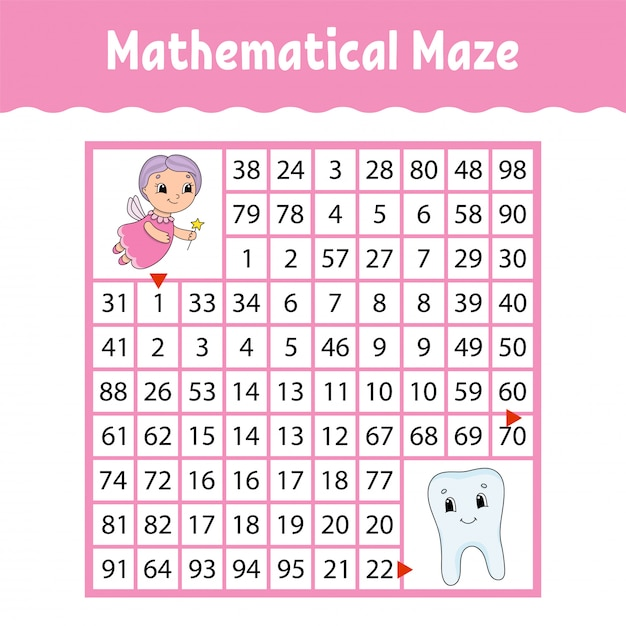 Mathematical maze. Premium Vector