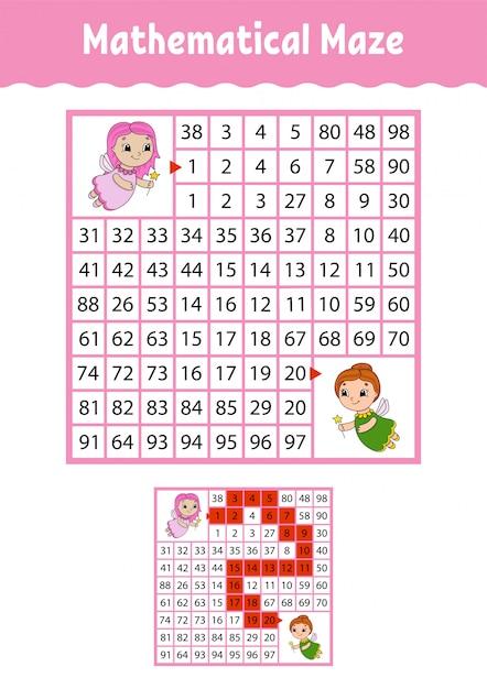 Mathematical maze. Premium Vector