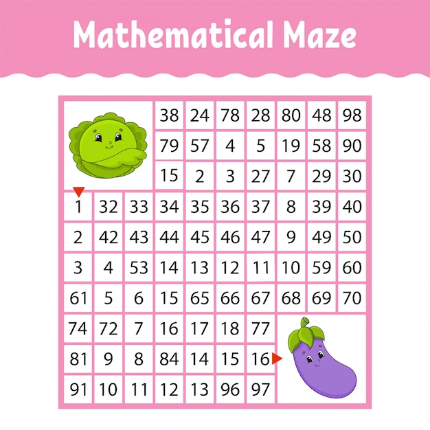 Mathematical square maze worksheet with cartoon vegetables Premium Vector