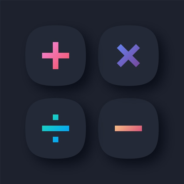 Mathematical symbol icons Premium Vector