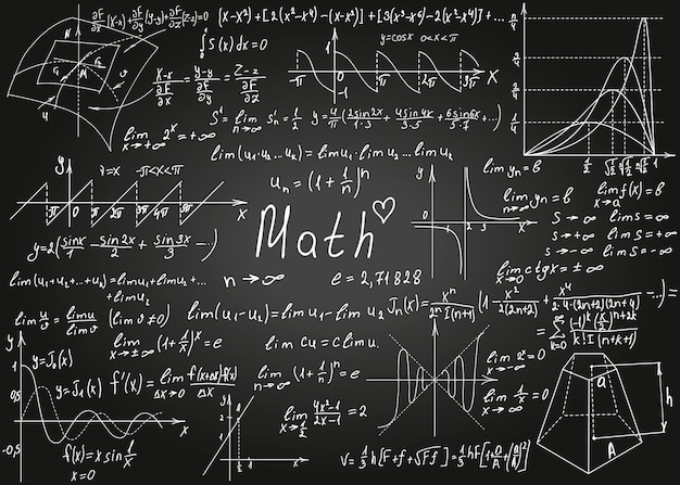 Mathematical white formulas drawn by hand on the black chalkboard for the background.  illustration. Premium Vector