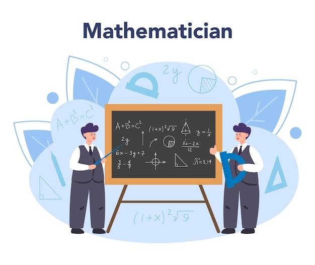 数学者は、科学的なパターンと研究を求めて使用し、新しい計算を作成します Premiumベクター