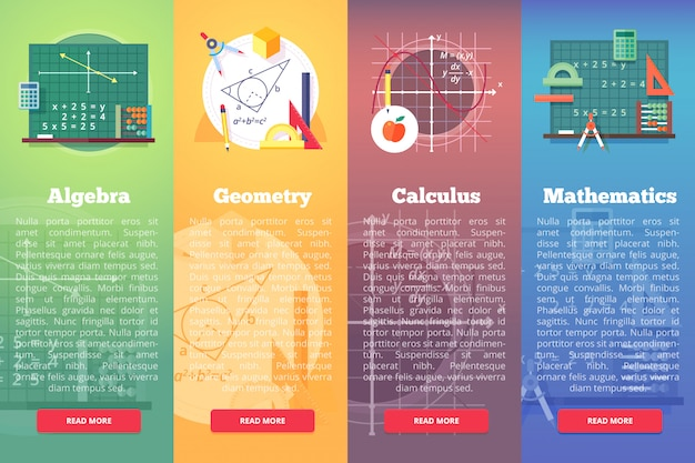 Mathematics banners.   education concept of math, algebra, calculus. vertical layout composition. Premium Vector