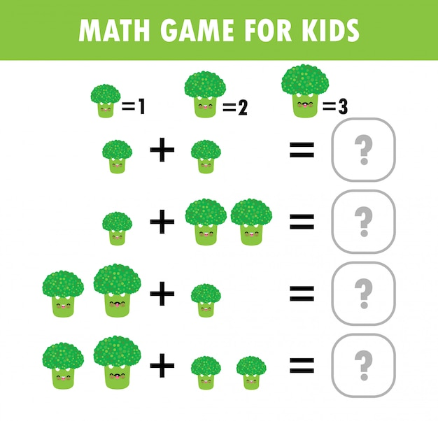 Premium Vector Mathematics Educational Game For Children. Learning  Counting, Addition Worksheet For Kids. Math Addition Subtraction Puzzle  Broccoli Vegetable Trick Question Solve Flat Illustration