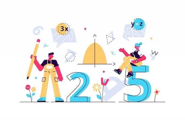 Mathematics illustration. flat mini persons education concept. algebra symbols with geometry figures used learning science in school or university. arithmetic knowledge symbols collection set. Premium Vector