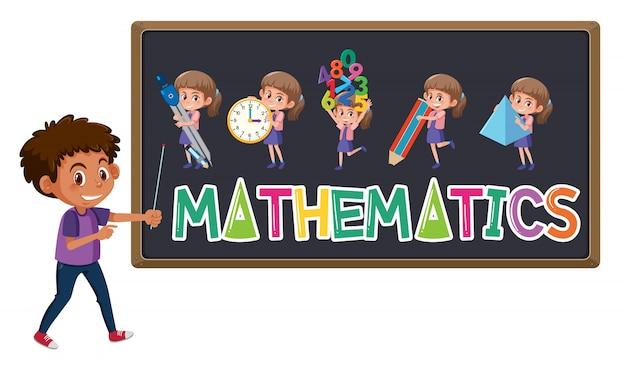 Premium Vector | Mathematics logo on blackboard with cute boy isolated