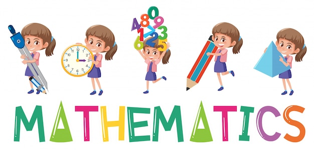Mathematics logo with girl in many movements isolated Premium Vector