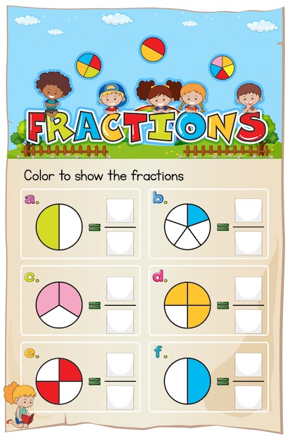 Mathematics worksheet fractions chapter with picture Premium Vector