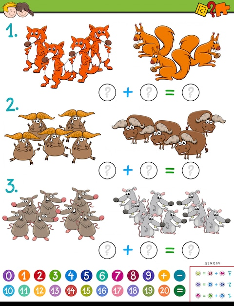 Maths addition educational task with animals Premium Vector
