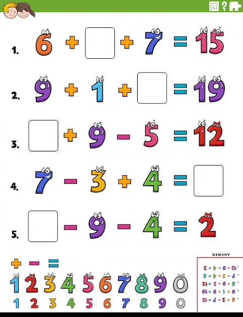 Maths calculation educational worksheet page for kids Premium Vector
