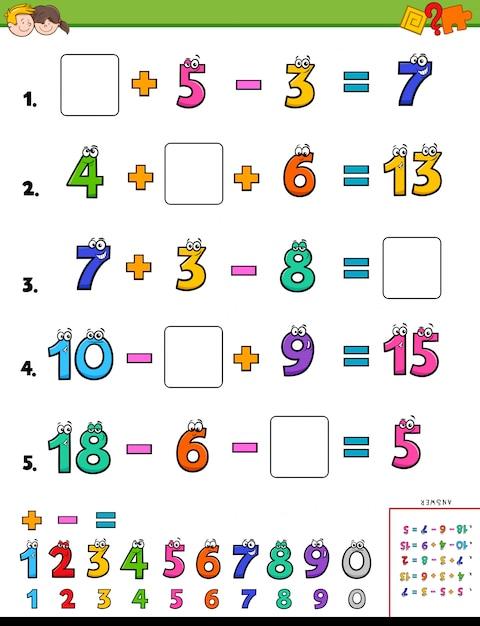 Maths calculation educational worksheet Premium Vector