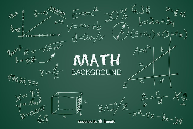 Maths realistic chalkboard background Free Vector