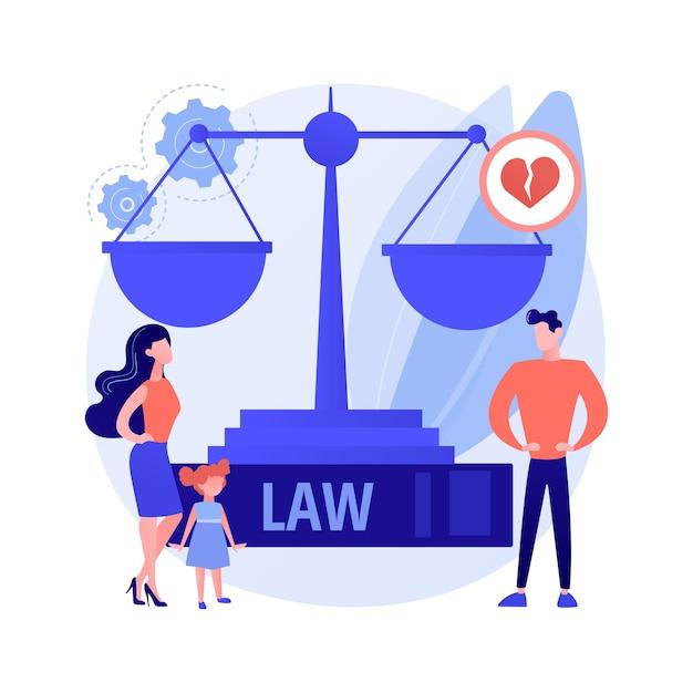 결혼 법 추상 개념 벡터 일러스트입니다. 가정법, 결혼 재산, 자녀 양육권, 이혼 판결, 정의의 척도, 서명 문서, 판사 망치, 합의 추상 은유. 무료 벡터