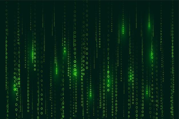 떨어지는 숫자와 매트릭스 스타일 이진 코드 디지털 배경 무료 벡터