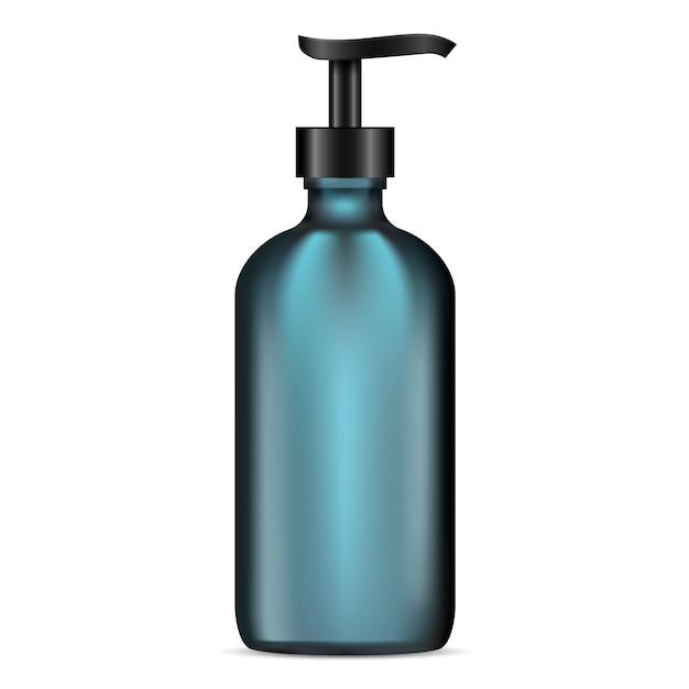 Matte glass lotion pump bottle. cosmetic container Premium Vector