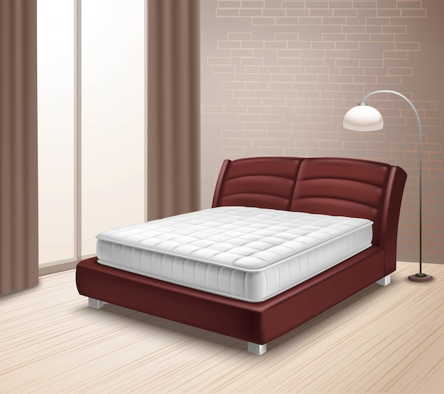 Mattress bed in home interior Free Vector