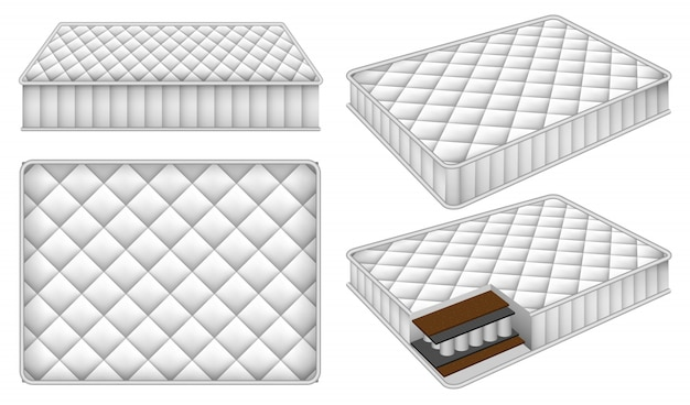 Mattress bedding bed mockup set Premium Vector