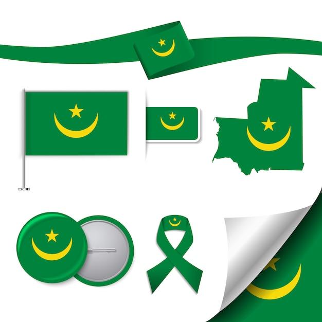 Collezione di elementi rappresentativi della mauritania Vettore gratuito