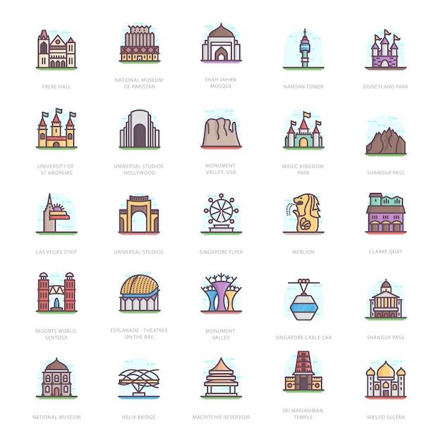 Mausoleum landmarks flat icons Premium Vector
