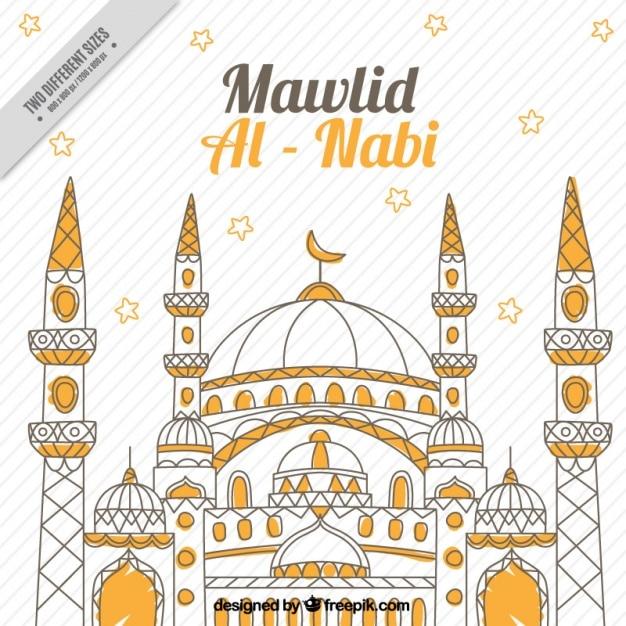 Mawlid al nabi background with mosque Premium Vector