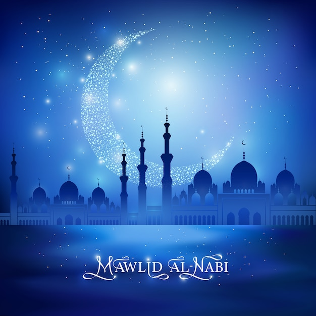 Mawlid al nabi - celebration of the birthday of the prophet muhammad. calligraphy drawing congratulation text and shine crescent moon, mosque silhouette on a night blue background. vector illustration Premium Vector