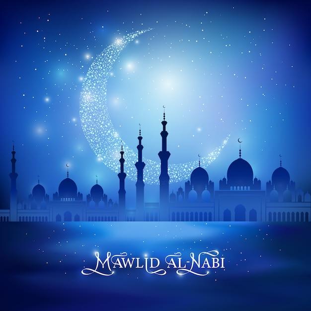 Маулид ан-наби - празднование дня рождения пророка мухаммеда. каллиграфия, рисование текста поздравления и блеск полумесяца, силуэт мечети на синем фоне. векторные иллюстрации Premium векторы