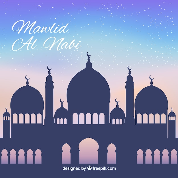 Mawlid background of mosque silhouette Free Vector