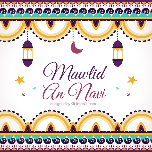 Mawlid background of ornaments in flat design Free Vector