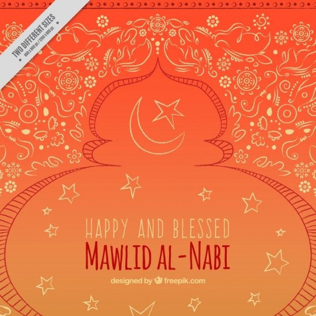 Mawlid background with hand drawn ornaments Premium Vector