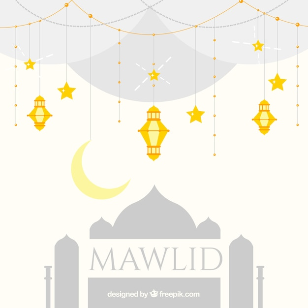 Mawlid background with mosque and golden lanterns Free Vector